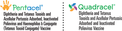 Pentacel® (Diphtheria and Tetanus Toxoids and Acellular Pertussis Adsorbed, Inactivated Poliovirus and Haemophilus b Conjugate [Tetanus Toxoid Conjugate] Vaccine) logo and Quadracel® (Diphtheria and Tetanus Toxoids and Acellular Pertussis Adsorbed and Inactivated Poliovirus Vaccine) logo
